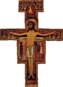 The San Damiano Cross is the large Romanesque rood cross that St. Francis of Assisi was praying before when he received the commission from the Lord to rebuild the Church. The original cross hangs in the Basilica of Saint Clare in Assisi, Italy. Franciscans cherish this cross as the symbol of their mission from God. The cross is of a type sometimes called an icon cross because besides the main figure it contains images of other saints and people related to the incident of Christ's crucifixion.