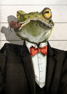 Animal Mugshot illustrations Jonathan Bartlett for Pierrepont Hicks. Frosch Illustration, Character Art, Character Design, The Wolf Among Us, Frog Pictures, Frog Art, Cute Frogs, Frog And Toad, Animal Heads