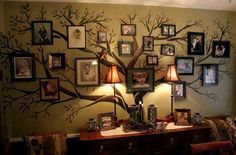 Family tree painted on wall. Organize family photos on the branches