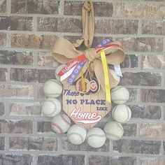 Baseball Wreath Burlap With Initial Made Using Real Leather Softball Wreath, Baseball Wreaths, Painted Wooden Signs, Wooden Tags, Coach Gifts, Team Gifts, Burlap Bows, Burlap Wreath, Baseball Party Supplies