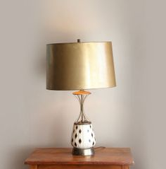 Vintage Black and Gold Atomic Table Lamp by CaprockVintage on Etsy, $110.00