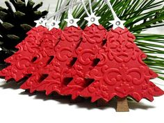 Handmade embossed red christmas TREE tags 5 by smatsunaka on Etsy Noel Christmas, Christmas Gift Tags, Christmas Paper, Christmas Wrapping, All Things Christmas, Handmade Christmas, Christmas Decor, Christmas Projects, Holiday Crafts