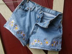 Daisy Daisy Dukes embroidered vintage 501 button by bohemianblue