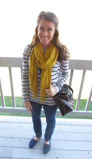 Love the mix of a pattern with a great Fall solid like mustard yellow! #FallFashion