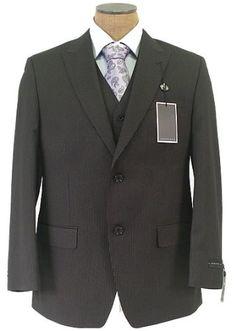 Sean John Mens 2 Button Flat Front Black Pinstripe 3 Piece Suit $139.99