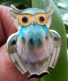 Super Norwegian Silver & Enamel Owl Brooch - David Andersen Norway