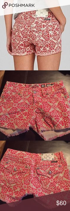 Miss Me Lace Printed Cutoff Denim Shorts Like new only worn once or twice!! Great statement shorts in red and beige! Super fun and flirty print all over the short. No wearing whatsoever! Fringe on the bottom to make them appear as cut offs! Miss Me Shorts Jean Shorts