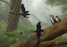 Microraptor and Jeholornis by Apsaravis.deviantart.com on @deviantART