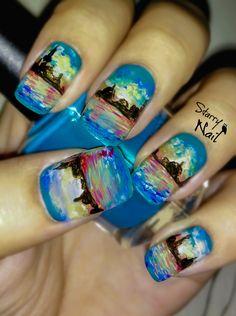 Monet's Venice Twilight Nail Art