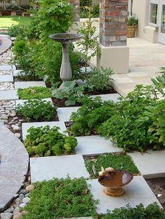 Kitchen garden, for your herbs!--(Trying to figure out how to use stepping stones to formalize my veggie garden)-L Unique Garden, Herb Garden Design, Garden Paths, Garden Art, Garden Landscaping, Garden Tiles, Terrace Garden, Conservatory Garden, Garden Paving