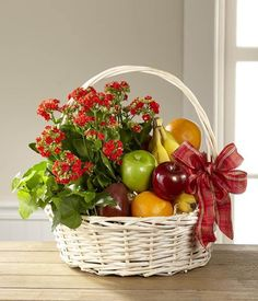 KG Fresh Seasonal Fruits Basket with Red Flowers Decor. Fruit Flower Basket, Fruits Basket, Get Well Flowers, Red Flowers, Flower Factory, Apple Baskets, Fruit Gifts, Ivy Plants, Mother's Day Diy