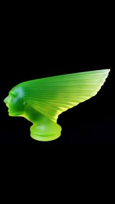 #Art Deco Classic Car Mascot Bohemian Vaseline Uranium Glass Hood Ornament Paperweight