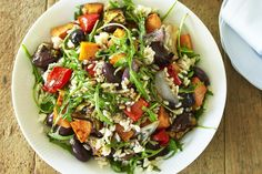 This salad is a combination of brown rice, crunchy vegetables, balsamic vinegar and fresh rocket.