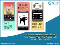 Facebook Has Launched Another Teen Focused App, This Time to Make Memes.  To use Whale, you first pick an image you want to use as your template - either your own or from the stock library. You can then add text, emojis, and filters to turn your image into a meme. You can then save and share the image with various social networks directly from the app. Focus App, Digital Marketing Trends, Social Networks, Your Image, Whale, Filters, Product Launch, Template, Ads