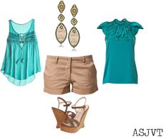 Turquoise and Rose Gold Casual, created by asjvt on Polyvore