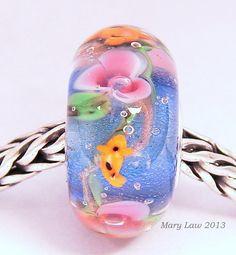 Koi Waterlily Garden Floral Glaslight Artisan Handmade Lampwork Glass Murano Dichroic Sparkle Bead SRA