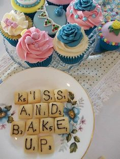 The Very Vintage Tea Party LOVE the flower cupcakes and scrabble #primpparty