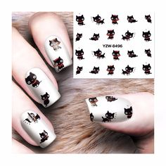 Water Transfer 3D Grey Cute Cat Nail Art Sticker - Poshycats