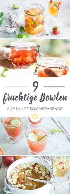 9 fruchtige Bowlen mit frischem Obst, etwas Wein und prickelndem Sekt sind bringen für durstige Gäste neuen Schwung auf der sommerlichen Garten-Part
