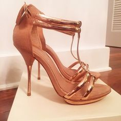 Topshop Rose Gold suede stilettos Worn once and with original box. These are genuine leather and suede in nude and rose gold with t-strap and platform. Super detailed beautiful shoe in near perfect condition. I'm not a platform woman Topshop Shoes Heels