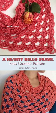 Crochet shawl 836614068266659682 - A Hearty Hello Shawl Free Crochet Pattern Source by moniquepeinture Crochet Mittens Free Pattern, Crochet Shawl Free, Crochet Shawls And Wraps, Crochet Scarves, Crochet Clothes, Crochet Stitches, Crochet Patterns, Crochet Vests, Crochet Cape