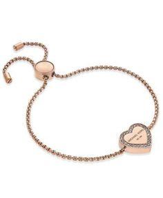 Michael Kors Crystal Heart Logo Slider Bracelet   macys.com