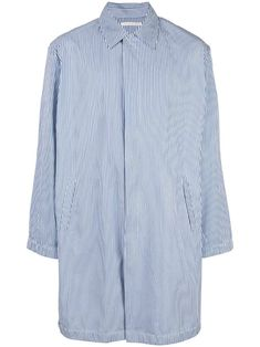 OUR LEGACY OUR LEGACY STRIPED MAC SHIRT COAT - BLUE. #ourlegacy #cloth Mac, Our Legacy, Mantel, Women Wear, Blue And White, Mens Fashion, Shirt Dress, Mens Tops, Cotton