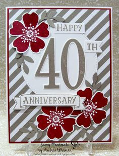 40th Anniversary card using Stampin' Up! Number of Years stamp set and Large Numbers Framelits by Savvy Handmade