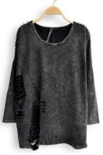 Black Long Sleeve Rivet Ripped Pullovers Sweater $45.20