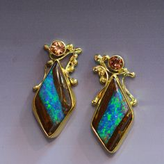 Boulder opal earrings with zircon in 22k & 18k gold. by Jennifer Kalled; Bill Kasso, Eagle Creek Opals #opalsaustralia