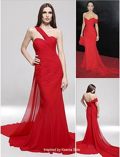 Chiffon Trumpet/Mermaid One Shoulder Sweep Train Evening Dress inspired by Ksenia Solo - USD $ 179.99