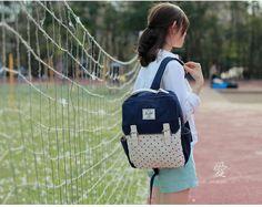 Blue Backpacks for Girls Envelope Shape Preppy Style Fresh and Sweet Dot Canvas Leisure Bag only $22 on omgnb.com