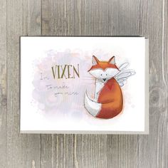 Super sweet and a little bit sassy, receiving this blank fox card will show the one you love that you only have eyes for them. 5x7 Valentine card (fits in a frame) with Kraft envelope.  by LellowLolly
