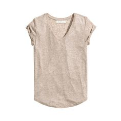 H&M Top in a linen blend ($20) ❤ liked on Polyvore featuring tops, h&m tops, v-neck tops, short sleeve tops, h&m and pink top