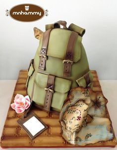 Adventure rucksack - Cake by Mnhammy by Sofia Salvador Cakes For Men, Just Cakes, Unique Cakes, Creative Cakes, Gorgeous Cakes, Amazing Cakes, Bolo Sporting, Cakes Originales, Suitcase Cake