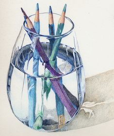 Colored Pencils; have you ever considered trying to draw an ordinary object in water?? The refractions are super challenging!