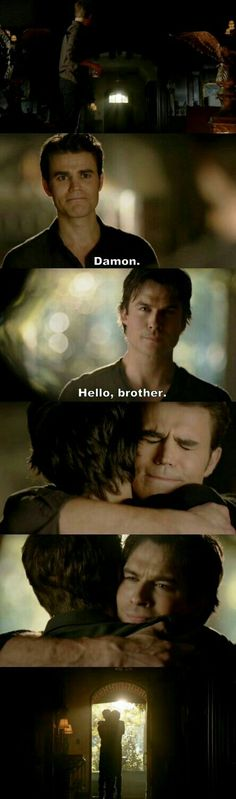 #TVD The Vampire Diaries  Stefan & Damon, this was beautiful to see..the Salvatore brothers reuniting!