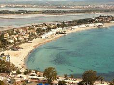 A view of Poetto beach from Sella del Diavolo (Devil's craddle in Cagliari) Wonderful Places, Sardinia Beaches, River, Island, Landscapes, Outdoor, Turquoise, Sea, Reading