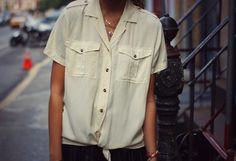 Loving how Danielle of WE WORE WHAT? layers our Straight as an Arrow necklace