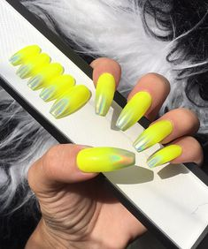 Dippy Cow Nails create reusable, hand made press on nails for all. Unique designs in wide fit and narrow sizes, our custom nails let your hands do the talking. Neon Yellow Nails, Yellow Nails Design, Neon Nail Art, Yellow Nail Art, Splatter Nails, Cow Nails, Almond Shape Nails, Holographic Nails, Artificial Nails