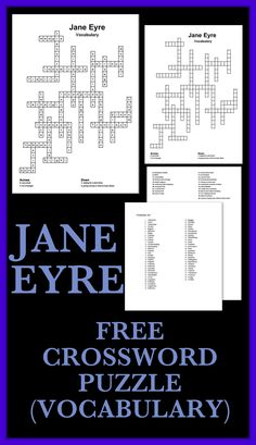 FREE! This Vocabulary Crossword Puzzle works best alongside my Jane Eyre units but could also be used as an AP vocabulary test. INCLUDED IN THIS UNIT ARE THE FOLLOWING: ➢ A puzzle with 26 spaces and clues. ➢ The answer to the puzzle. ➢ A list of 60 words (the 26 are listed within). ➢ The 26 words are all from my Jane Eyre units so the puzzle will work well with these but could also be used as a stand-alone puzzle to test vocabulary.