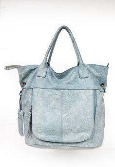 OASIS Blue Washed Leather Tote Handheld / Shoulder Bag by DARTMECO