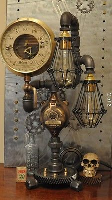 Vintage industrial steampunk Cast Iron Pipe Lamp With Edison Bulbs Halloween  in Home, Furniture & DIY, Lighting, Lamps | eBay!