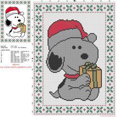 Snoopy Santa Claus free Christmas cross stitch pattern of cartoon Peanuts