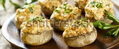 These stuffed mushrooms have always been a favorite. Stuffed Mushrooms, Stuffed Peppers, Brown Butter, Baked Potato, Side Dishes, Garlic, Bacon, Treats, Snacks