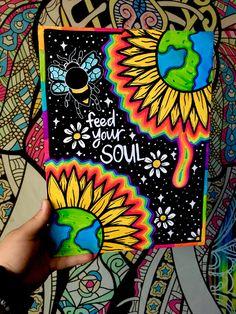 Simple Canvas Paintings, Small Canvas Art, Mini Canvas Art, Hippie Painting, Trippy Painting, Diy Painting, Arte Hippy, Dibujos Zentangle Art, Psychadelic Art