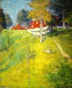 """""""La blanchisserie, Branchville"""", huile sur toile de Julian Alden Weir (1852-1919, United States)"""