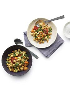Chopped fresh veggies add crunch to the creamy texture of chickpeas, which are a good source of protein, folate, fiber, and iron.