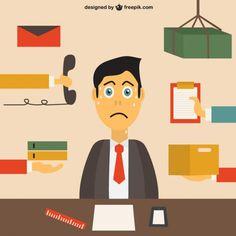 Empleado de oficina estresado Vector Gratis