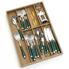 Lipper International 8877 Bamboo Flatware Organizer Flatware tray is ideal for storing and sorting flatware. Made of environmentally friendly bamboo. Kitchen Utensil Storage, Kitchen Utensils, Kitchen Gadgets, Kitchen Organization, Storage Organization, Storage Ideas, Ikea Kitchen, Kitchen Pantry, Kitchen Drawers